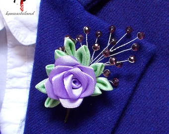 Clip and PIN with pink lilac, silk green kimono and purple glass beads