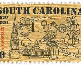 10 South Carolina 6c US postage stamps unused - Vintage 1970 - Rustic country Charleston neutral brown tan wood