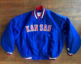 Vintage 1990s Starter Kansas Jayhawks Basketball NCAA Blue Satin Jacket Size XXL Basketball Football KU