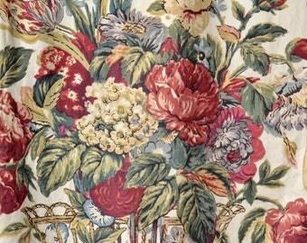 Vintage 40s Curtains // 1940s Rose Bouques Curtains // Midcentury Curtains // 3 Panels