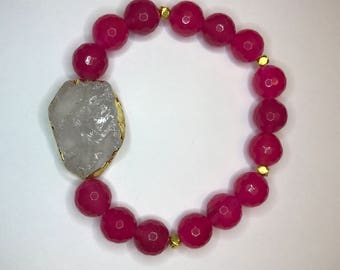 Pink & White Faceted Agate Beaded Stretch Bracelet Closeout Sale