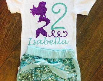 Mermaid Second Birthday Onesie With Custom Name