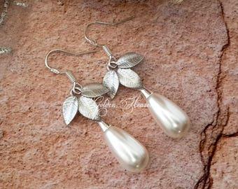 Swarovski Teardrop Earrings White Pearls Earrings 925 sterling silver leaves Leaf Earrings cute gift for her dangle earrings