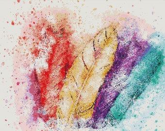 Watercolor Feathers Cross Stitch Pattern