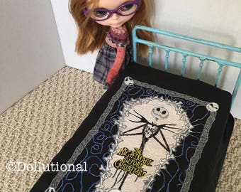 Custom Ooak miniature quilt for Blythe or similar doll 1:6 scale made to order