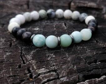 Amazonite / Rosewood / Quartz Wrist Mala // Gemstone Yoga Bracelet // Men's Yoga Bracelet // Unisex Wrist Mala Bracelet