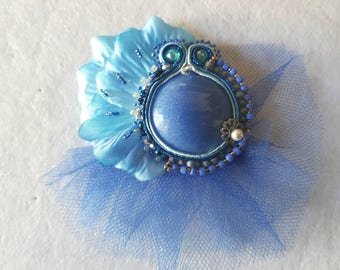 Blue wedding brooch ready for shipment