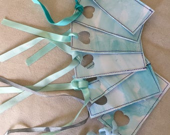 Gift Tags // Watercolour hand-dyed and stitched // Lace and ribbons // Pack of 6