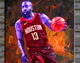 painting,oil painting,original painting,portrait painting  James Harden,modern canvas painting for home decor,framed,ready to hang