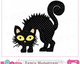Halloween Cat applique,Halloween applique,Halloween design,Black Cat,Black Cat design,Cat,Halloween embroidery.- 001