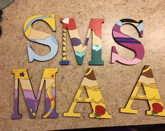 Wooden character letters princess themed