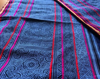 2.5 Yards Hmong Ethnic Fabric Bohemian Style Handprinted Thai Batik Textile 335
