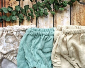 Bloomer Bundle of 3, any color, linen bloomers, diaper cover