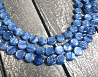 Full Strand Natural Blue Kyanite 10MM Coin Beads