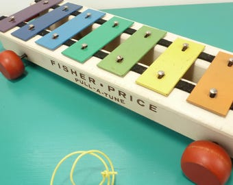 Fisher Price Pull a Tune Xylophone 1970s Vintage Toys / Childs Playthings Wooden Toys / Musical Toys Instruments / Nostalgia