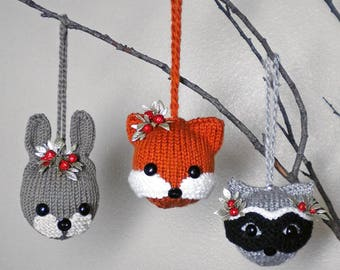 Woodland Animal Ornaments Knitting Pattern