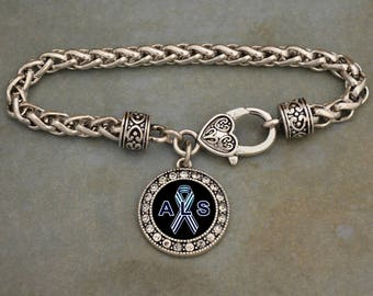 ALS Lou Gehrig's Disease Awareness Rhinestone Charm Bracelet