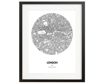 London Map Poster - 18 by 24 inch City Map Print- United Kingdom, London England City Map Poster - Gift Ideas for Travelers - Home decor art
