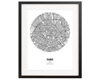 Paris Map Poster - 18 by 24 inch City Map Print- France City Map Poster - Gift Idea for Travelers - Home Decor for Travel Lovers