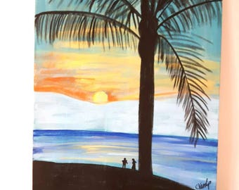 Sunset painting on canvas, Beach art on Canvas, Scenic Artwork