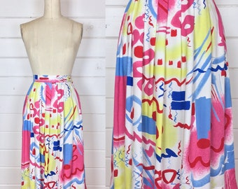 Vintage 1980s Neon Abstract Print Rayon Skirt / Made by Segue / Full Skirt / Pastel