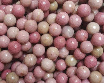 "Natural Rhodochrosite 10mm Faceted Round Beads, 14.9~15"" Strand"
