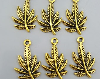 Gold Tone Marijuana, Cannabis Leaf Charms, 23x14mm - 6 Pieces