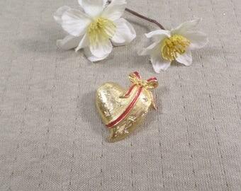 LANCER! Beautiful Vintage Gold Tone Rhinestone And Enamel Heart Brooch Signed Lancer  DL#3470