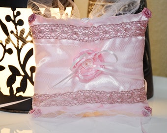Pink Satin Wedding Ring Pillow with White Tulle and Pink Roses Flower