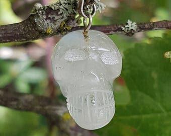 Amazing Hand Carved Skull Pendant in Clear Quartz!
