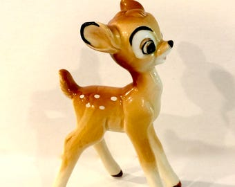 Vintage Bambi Deer, Disney Figure, Glazed 5 inch, Bisque Porcelain Ceramic Fawn, Big Eye Deer, Spotted Deer, Disneyana, Made in Japan, 1950s
