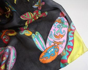 Black rabbit silk scarf Childs neck scarf gift Animal scarf Whimsical animals Fantasy wrap scarf Funny rabbits scarf Silk bandana Baby gift