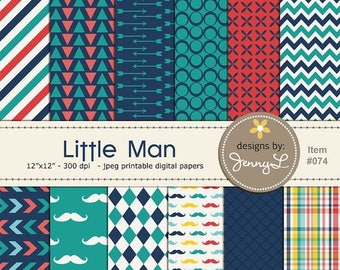 50% OFF Little Man Mustache Digital Papers for Digi-Scrapping, Cards, Invitations, Arrows, harlequin
