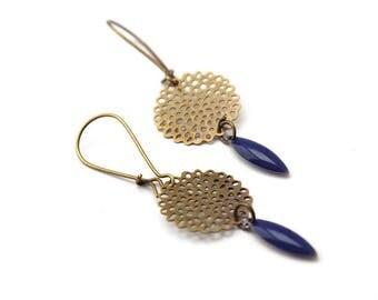 Blue earrings / pinwheel earrings / earrings enameled / dark blue navettes earrings / earrings