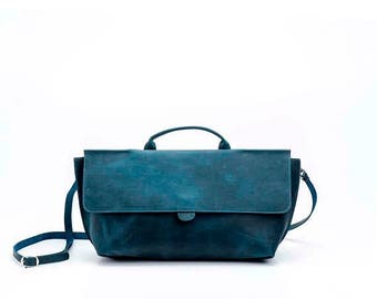 Jeans Blue Leather Purse / Women's Bag / Evening Clutch / Top Handle Handbag / Crossbody Purse / Shoulder Bag / Small  Every Day Bag - Romie