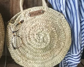"Round basket with chain ""Lina"" round basket, basket bag, size S"