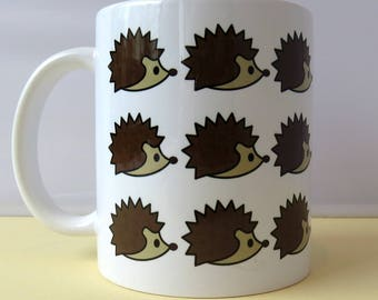 Hedgehog Pattern 11oz Ceramic Mug - Gift for Her - Gift for Him - Wildlife Lover - Housewarming