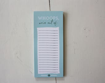 Whoops We're Out Of Notepad, Magnetic Grocery List, Shopping List, List pad, Gift