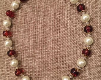 Pearl and Topaz beaded necklace