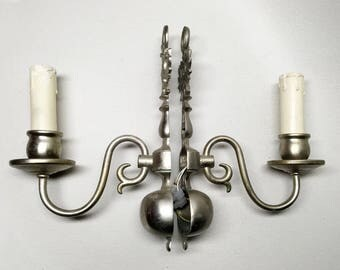 Pair of Vintage Metal Wall Sconces with 1 Arm - Dutch Style
