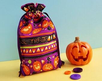 Halloween Treat Bag - Pumpkin Gift Bag - Candy Corn Goody Bag - Mini Trick Or Treat Bag - Halloween Sweet Candy Bag - Halloween Party Bag