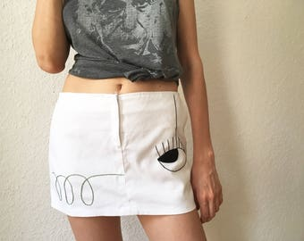 Vintage handmade skirt, hand embroidered, eye embroidery