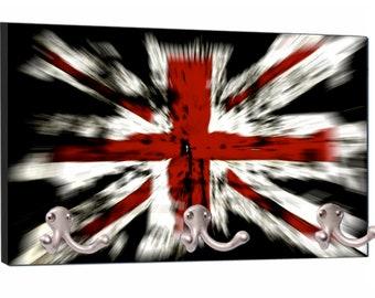 "United Kingdom - England - UK - GB - Great Britian - British Flag Union Jack - 8"" by 16"" Mountable Coat Hanger Rack"