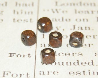 20 round 6mm Brown wooden cube beads