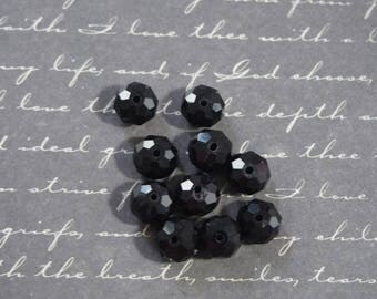 10 round faceted 6x8mm black Bohemian crystal beads