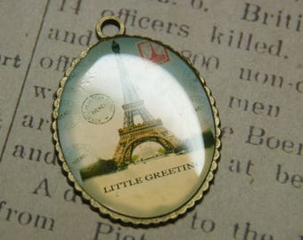 Large cabochon Paris charm bronze 45x36x3mm