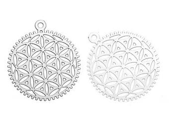 2 charms filigree flower of life (3) silver-plated 30x26mm