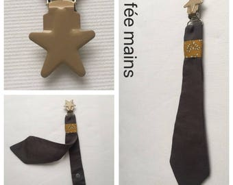 Pacifier clip tie in gray fabric liberty mitsy mustard
