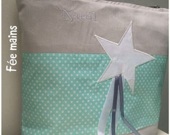 Toiletry bag in gray and Aqua green cotton printed white dots with White Star
