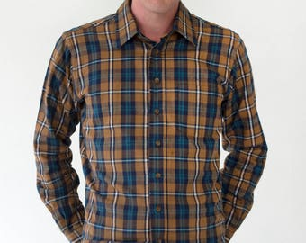 NY Sportswear Exchange Mens Vintage 1980s Tartan Plaid Flannel Button Down Warm Imported Cotton Shirt - Medium